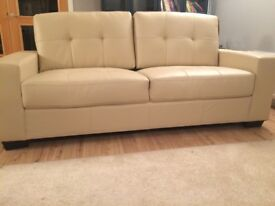 3 SEATER CREAM LEATHER SOFA