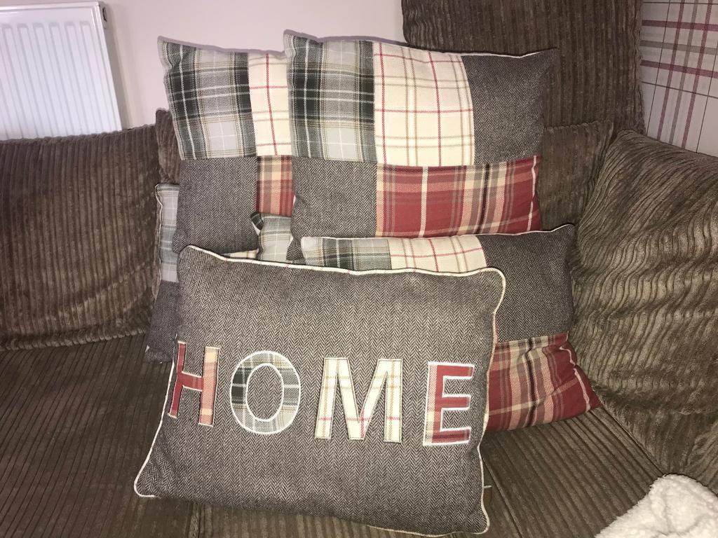 5x Tartan Print cushions & 1 x 'Home' cushion