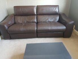 Furniture Village Leather Power Recliner Sofa