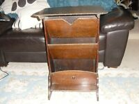 LARGE FLOOR STANDING WOODEN, FLAT TOPPED, THREE COMPARTMENT, PAPER / MAGAZINE RACK,