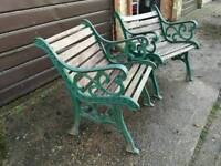 2x cast iron chairs