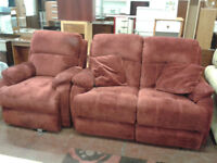 Fabric 2 seater sofa with matching recliner