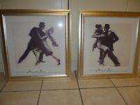 "2 x prints in gilt frames. ""The Stare"" and ""The Heartbeat"". Dance images."