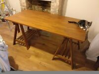 Ikea Solid Beech Trestle Leg Desk Table Office