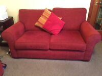 3 seater and 2 seater sofas. Red fabric material. good condition,