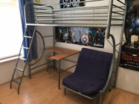 Bensons - High single bed frame with chair / futon, built in desk and stool