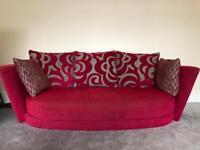 Fama Red Fabric Sofa 3/4 Seater