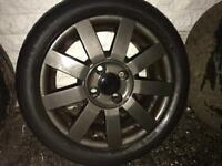 4 x Ford Fiesta alloy wheels. 2 x decent tyres other two done