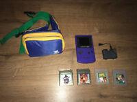 Purple Gameboy Colour + 4 Games + Travel bag