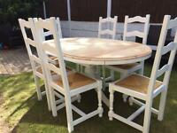 Amazing Shabby Chic Extending Pine Table and 6 Lovely Chairs With Rush Seats