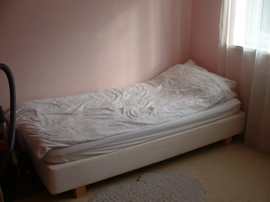 Single Ikea Divan bed base and foam mattress