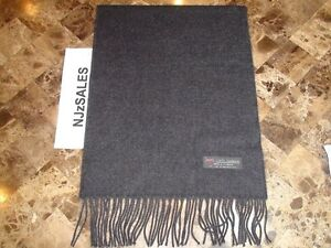 100-CASHMERE-WINTER-SCARF-SOLID-Charcoal-Gray-Soft-Warm-Scotland-Wool-Men-S10