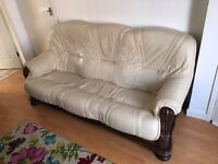 3 seater sofa and armchair cream leather and wood from DFS