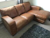 DFS Tan leather 3 Seater Corner Sofa / L Shape With Matching Chair Cesar Range