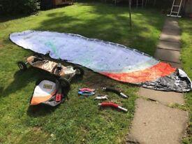 KITE SURFING :-Skateboard with 5 meter kite