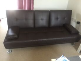 Bed sofa leather 3 seater color brown 200£