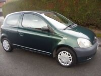 2003 TOYOTA YARIS GS 1.0,3DR,12 MONTHS MOT,FSH,NEW CLUTCH FITTED,VGC.
