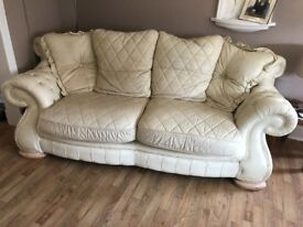 Cream Italian Leather 4 Seater Sofa with matching Armchair