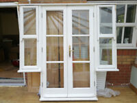 External french patio doors (7 feet by 6.8 feet) - VGC, wood, double glazed, multipoint lock