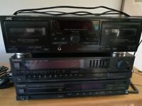 Hifi items Technics Tuner and CD player plus JVC twin cassette deck with speakers.