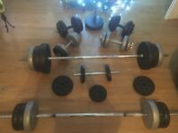 100 kg of weights 2 bars, 5 dumb bells with 1 weight stand