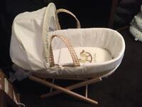 Moses basket with folding stand. Nearly new