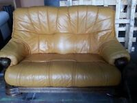 2 seat Italian Leather Sofa On wood frame Delivery Available