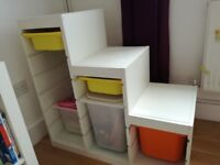 stepped storage unit for sale, plastic drawers included