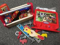 REDUCED-Wooden toy tool box and woki toki and more