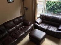 Amazing faux brown leather sofa set - bargain!