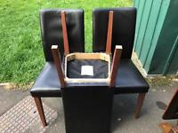 3 x faux leather kitchen chairs &a old drop leaf table