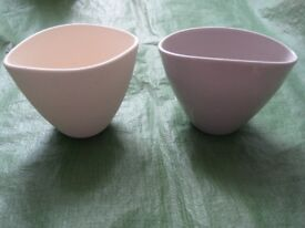 Two Unusually Shaped Stoneware Vases for £5.00