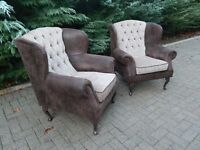 2 x Wing-Back Queen Anne Style Chairs