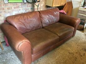 Three Person Brown Leather Sofa