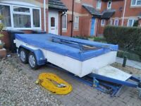 Trailer large, new floor, brake cables tyres, hubs axles serviced, waterproof cover