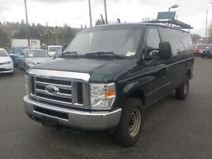 2009 Ford E-350 Cargo Van with Rear Shelving and Bulkhead Divide