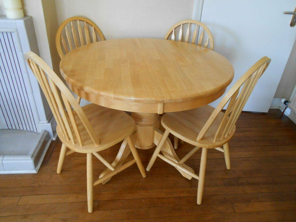 Maple Kitchen Table And Chairs Round Maple Kitchen Or Dining Table 4 Chairs 42 Fold Away