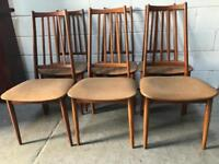 Set of 6 teak framed vintage dining chairs