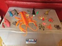 Plastic toy lobster & other sea creatures