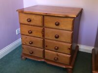 Pine chest of drawers, wardrobe, mini-wardrobe, bed (very cheap for quick sale)