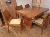 French Walnut Antique Table and chairs