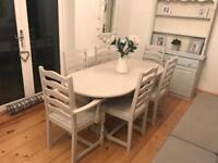 Shabby chic grey extendable table and 6 chairs