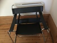 Vintage retro black leather chrome Le Corbusier chair