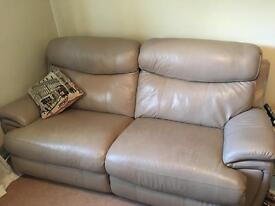 2 x Harvey's 3 seater leather electric recliner sofas