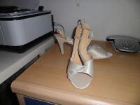 Cream Satin Sandals