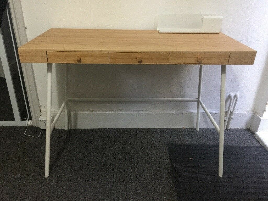 Ikea Lillasen Bamboo Desk With Janinge Chair W Armrests
