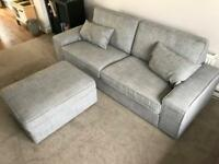 IKEA Kivik 3-Seater Sofa & Footstool with storage (Fabric: Isunda Grey)