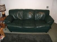 Sofas 3 Seater and 2 Seater, leather, green