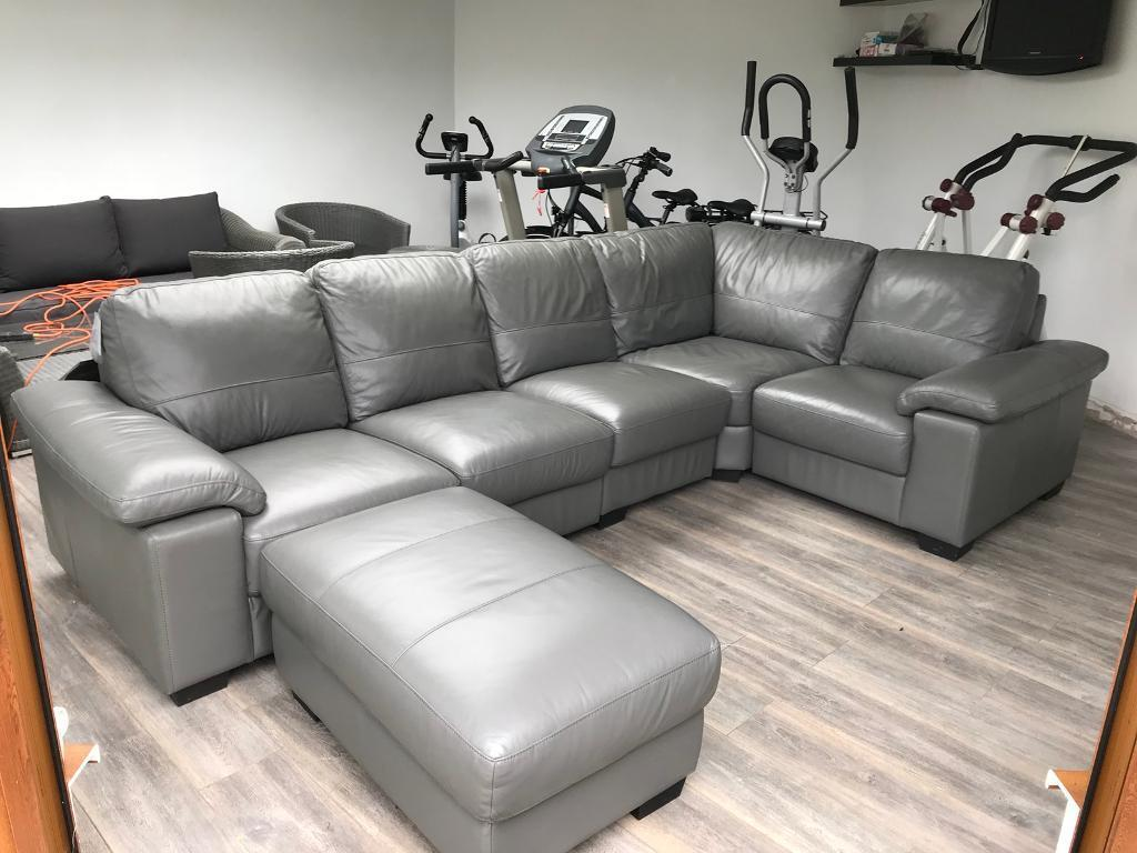 Grey Leather Corner Sofa
