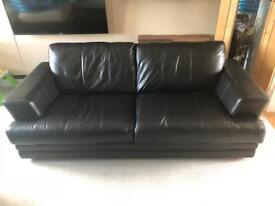 Black Leather Sofa (Three seater)